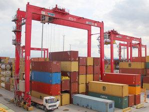 RTG & RMG Container Krane bewegen Container in einem Container Block